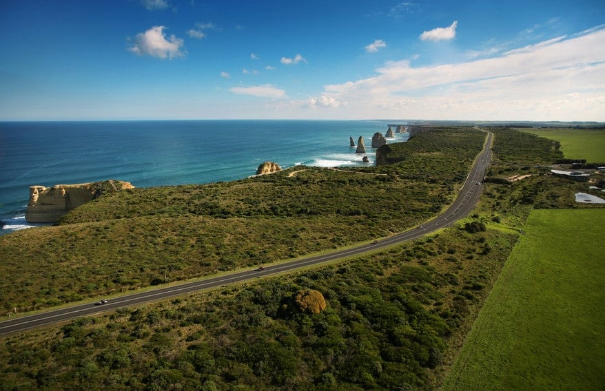 View of the rugged coastline along the Great Ocean Walk to the 12 Apostles
