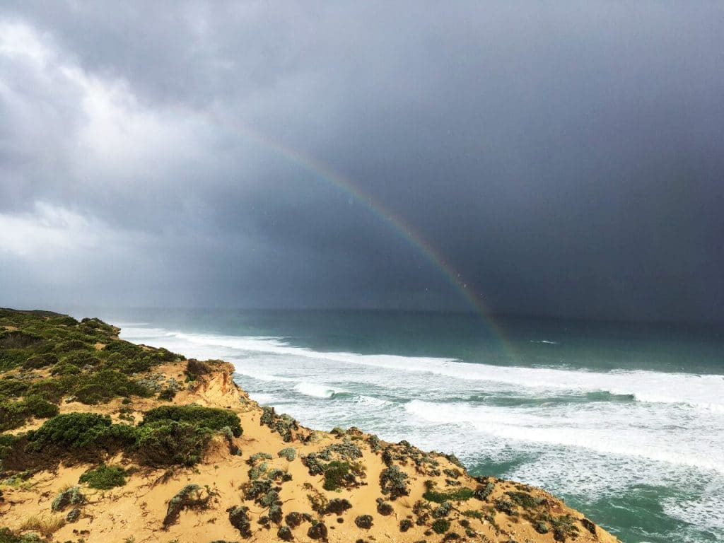 Rainbow on the Great Ocean Walk track